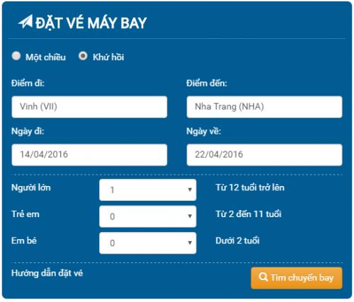 Đặt mua vé máy bay vinh Phú Quốc của CT CP hàng không vietjet air giá rẻ