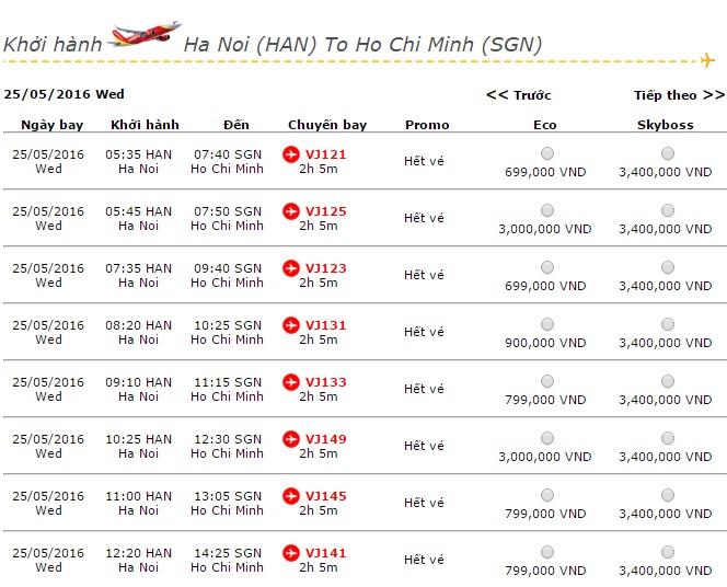 Vé máy bay Vietjet Air đi Sài Gòn khuyến mãi giá rẻ