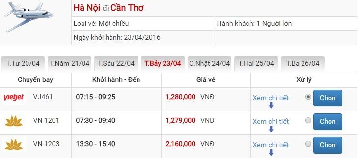 Bảng giá vé máy bay Hà Nội Cần Thơ của Vietjet Air
