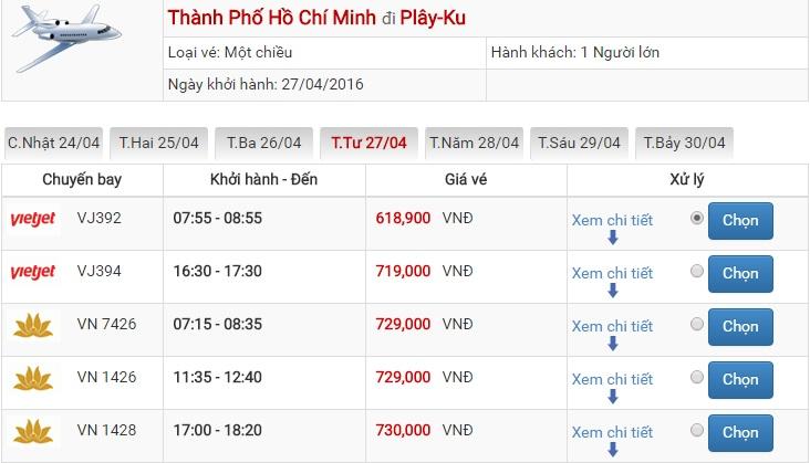 Bảng giá vé máy bay Sài Gòn Pleiku của Vietjet Air