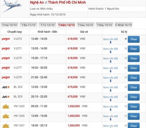 Giá vé máy bay Vinh Sài Gòn 01