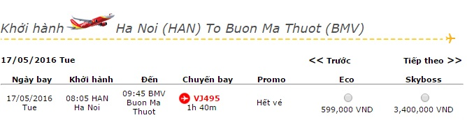 Vé máy bay Vietjet Air đi Buôn Ma Thuột khuyến mãi giá rẻ