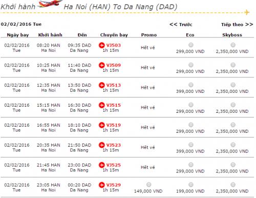 Vé máy bay Vietjet Air Hà Nội Đà Nẵng khuyến mãi giá rẻ