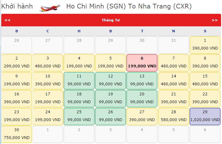 Đặt mua vé máy bay từ vinh đi nha trang giá rẻ của vietjet air