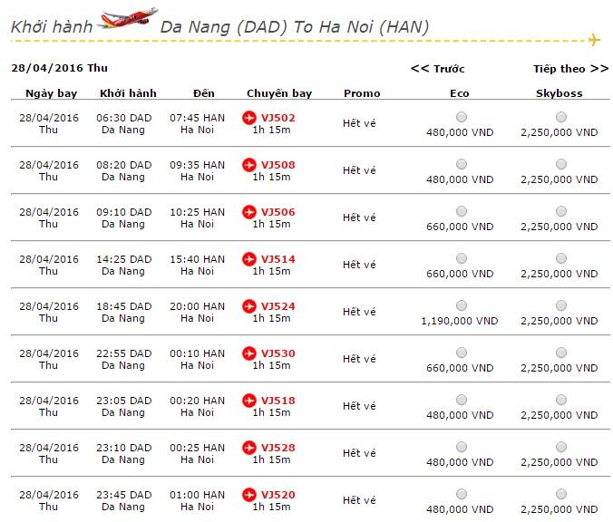 Vé máy bay Vietjet Air đi Hà Nội khuyến mãi giá rẻ