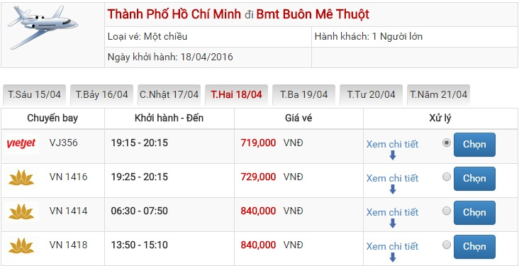 Bảng giá vé máy bay Sài Gòn Buôn Ma Thuột của Vietjet Air