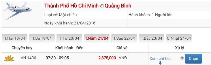 Bảng giá vé máy bay Sài Gòn Đồng Hới của Vietjet Air