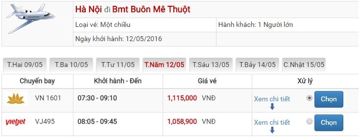 Bảng giá vé máy bay Hà Nội Buôn Ma Thuột của Vietjet Air