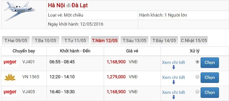 Bảng giá vé máy bay Hà Nội Đà Lạt của Vietjet Air