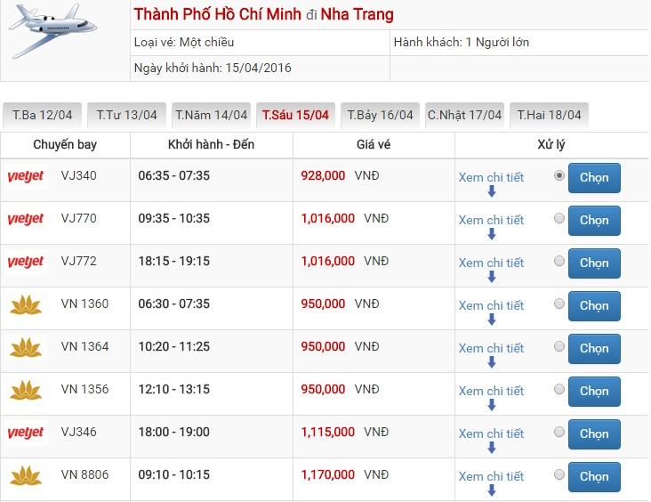 Bảng giá vé máy bay Sài Gòn Nha Trang của Vietjet Air
