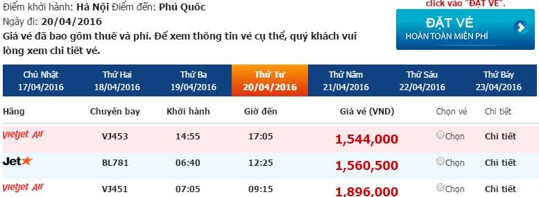 Bảng giá vé máy bay Hà Nội Phú Quốc của Vietjet Air