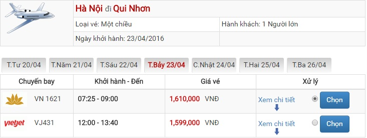 Bảng giá vé máy bay Hà Nội Quy Nhơn của Vietjet Air