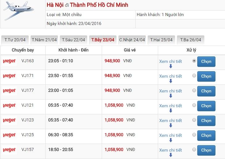 Bảng giá vé máy bay Hà Nội Sài Gòn của Vietjet Air