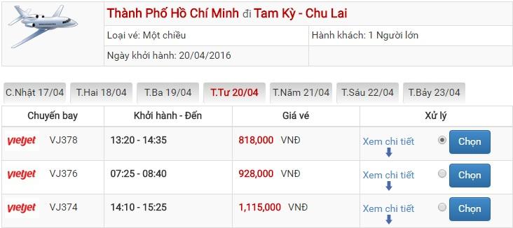 Bảng giá vé máy bay Sài Gòn Chu Lai của Vietjet Air