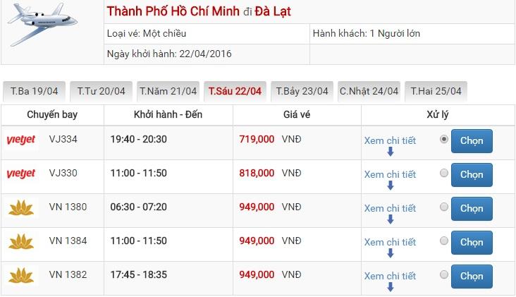 Bảng giá vé máy bay Sài Gòn Đà Lạt của Vietjet Air