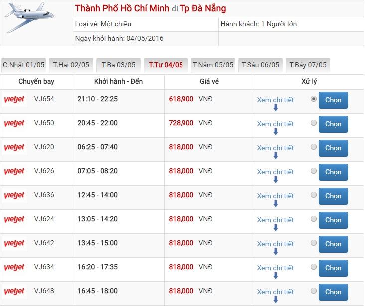 Bảng giá vé máy bay Sài Gòn Đà Nẵng của Vietjet Air