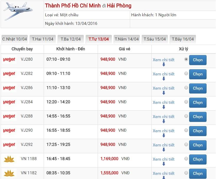 Bảng giá vé máy bay Sài Gòn Hải Phòng của Vietjet Air
