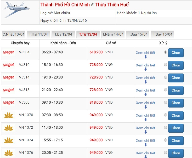 Bảng giá vé máy bay Sài Gòn Huế của Vietjet Air
