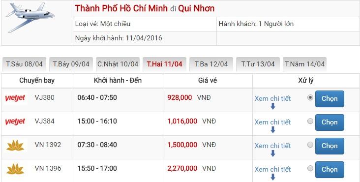 Bảng giá vé máy bay Sài Gòn Quy Nhơn của Vietjet Air