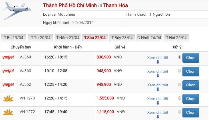 Bảng giá vé máy bay Sài Gòn Thanh Hóa của Vietjet Air