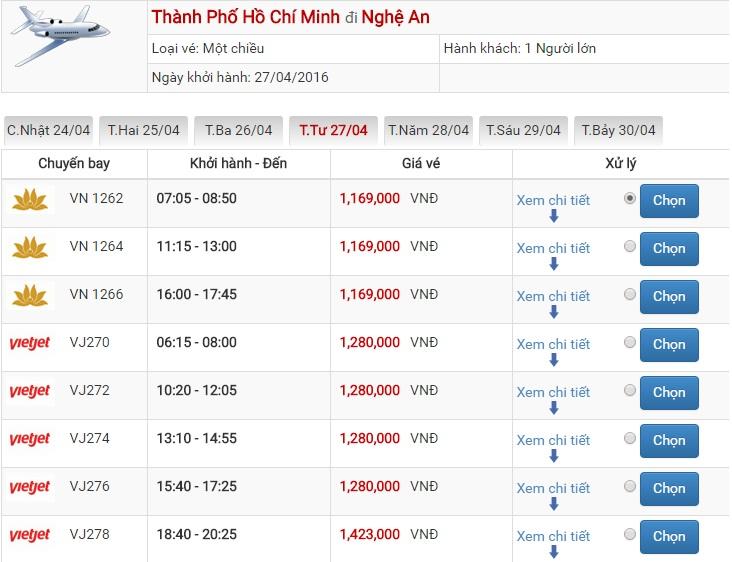 Bảng giá vé máy bay Sài Gòn Vinh của Vietjet Air