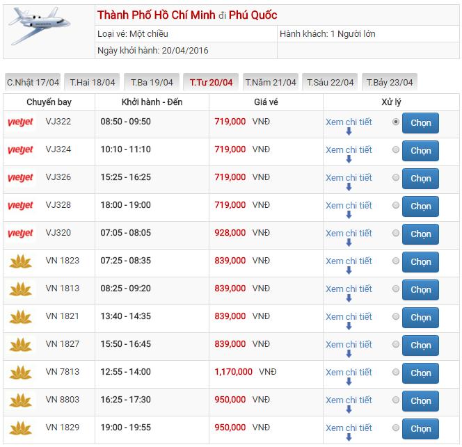 Bảng giá vé máy bay Sài Gòn Phú Quốc của Vietjet Air