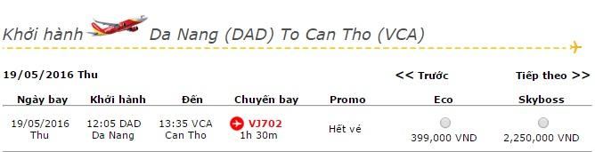 Vé máy bay Vietjet Air đi Cần Thơ khuyến mãi giá rẻ