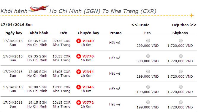 Vé máy bay Vietjet Air đi Nha Trang khuyến mãi giá rẻ